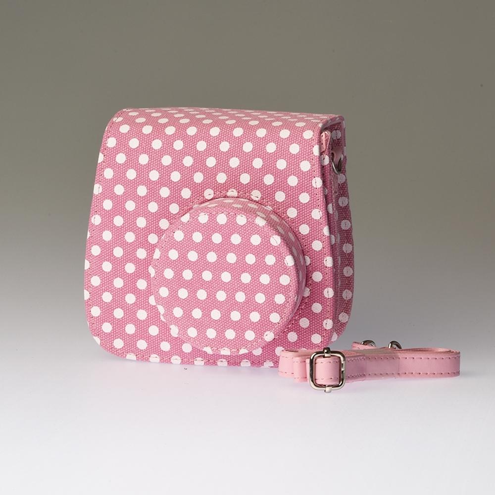 Stoffen draagtas Instax Mini 8 - Pink Dots