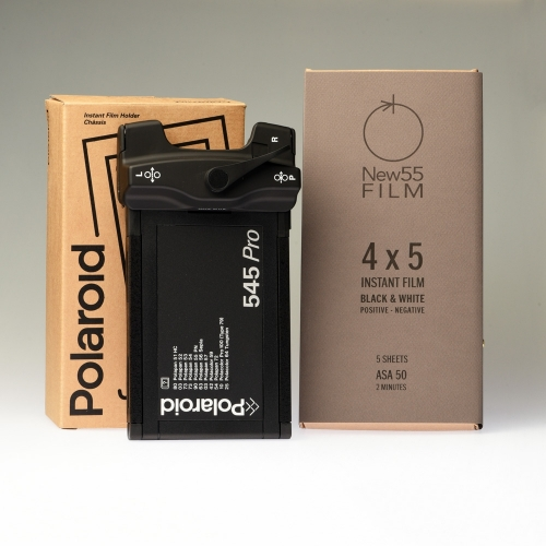 NEW55 PN Black & White Instant Film + Polaroid 545i Film Holder / Combo Package