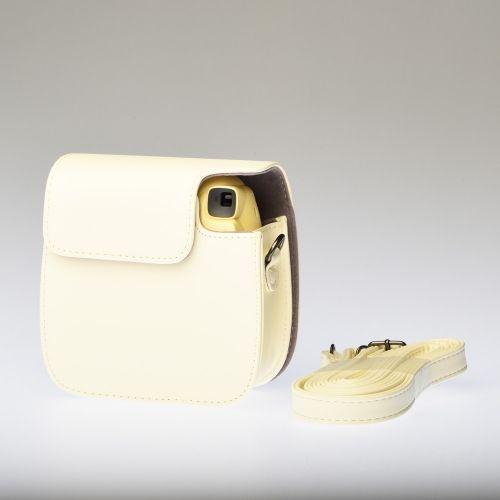 Leren Draagtas Instax Mini 8 - Geel (Crème)