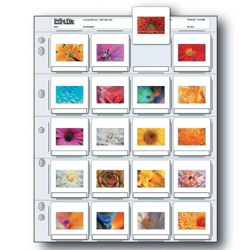Print File Feuilles de Diapositives Film 35mm - 20x Diapo Encadré - Polyéthylène - 25 pcs