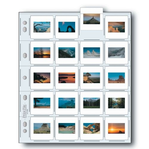 Print File Slide Storage Pages 35mm Film - 20x Mounted Slide - Extra Heavyweight - Polyethylene - 25 pcs