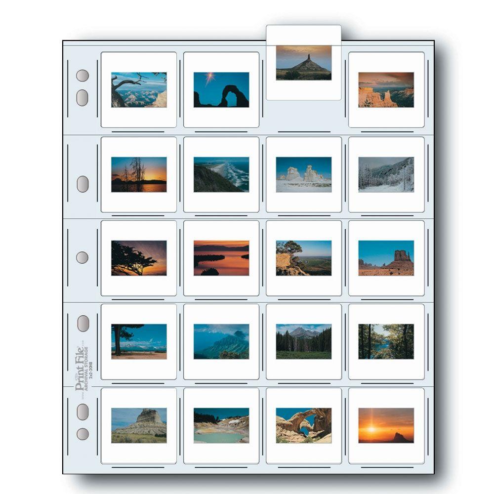 Print File Slide Storage Pages 35mm Film - 20x Mounted Slide - Extra Heavyweight - Polyethylene - 25 pcs