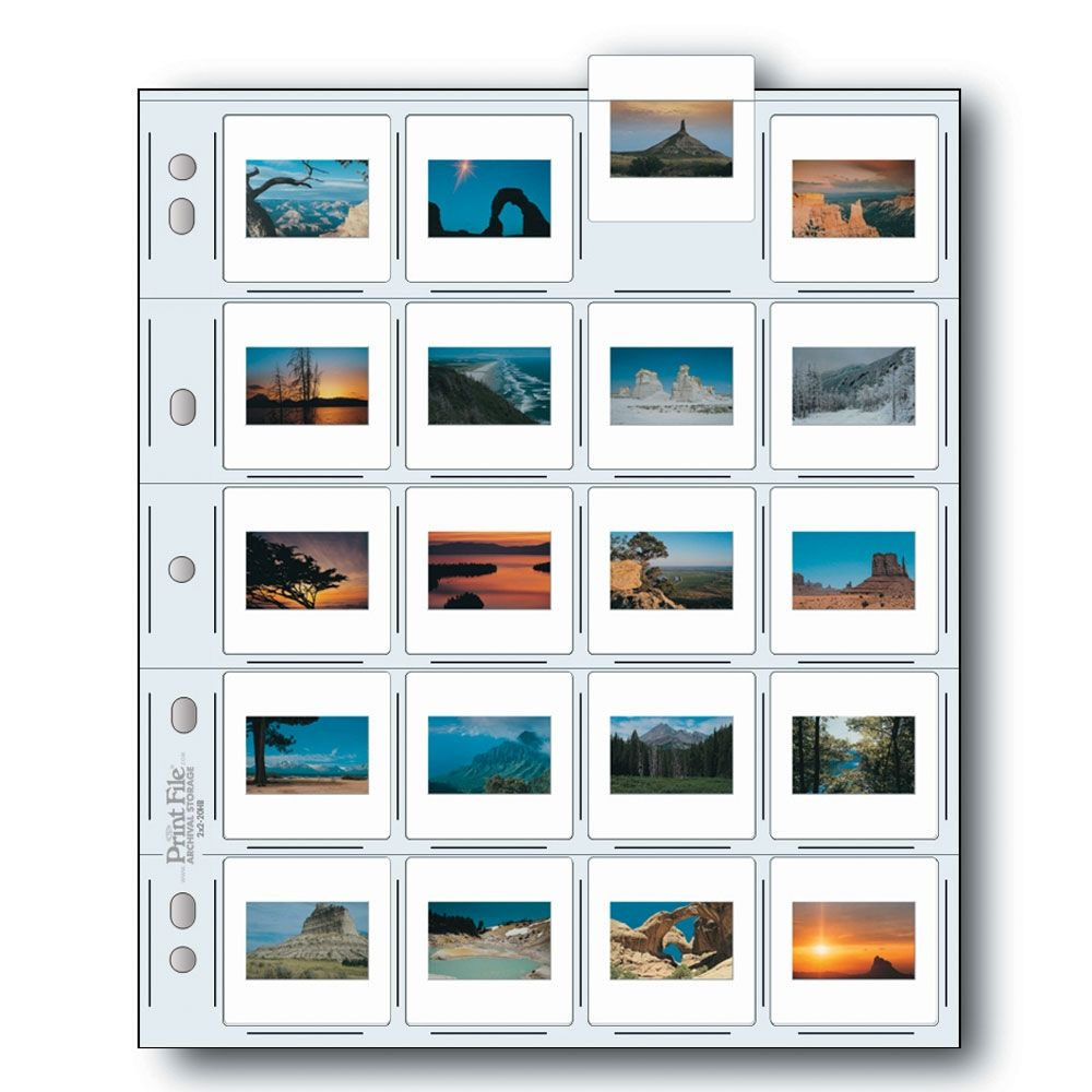 Print File Slide Storage Pages 35mm Film - 20x Mounted Slide - Extra Heavyweight - Polyethylene - 100 pcs