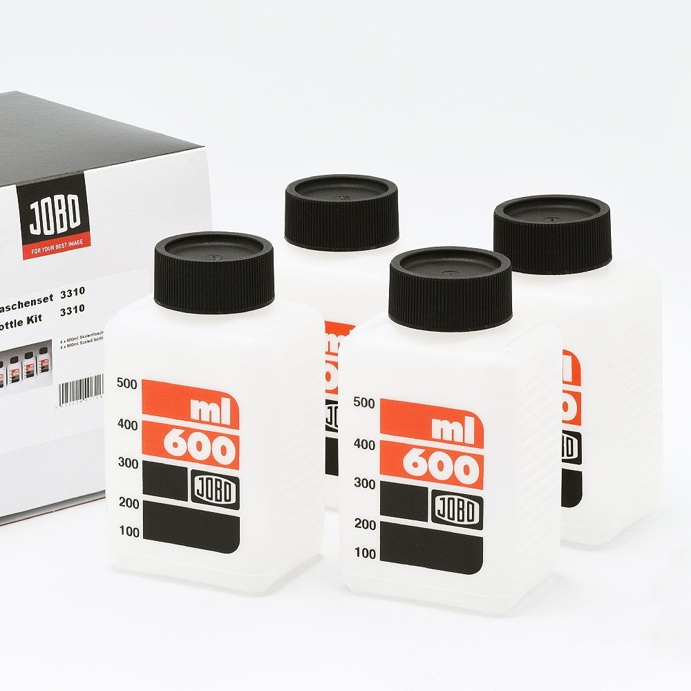 Jobo 3310 Geschaalde Opslagflessen voor Chemie (4x600ml)