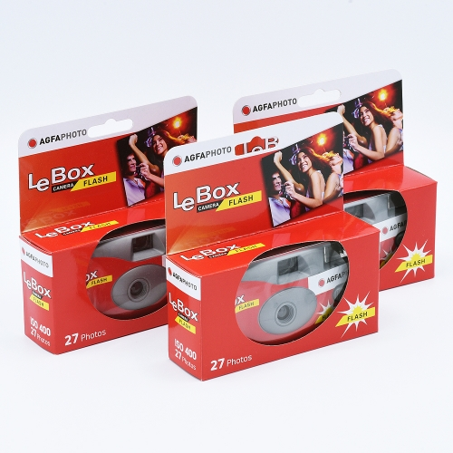 AgfaPhoto LeBox Flash Single Use Camera / 27 exposures - 3-pack