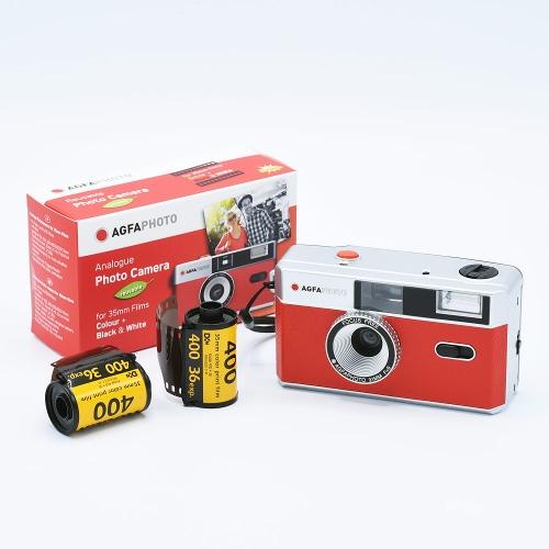 AgfaPhoto Analogue 35mm Photo Camera (Reusable) - Red + 2x Kodak UltraMax 135-36