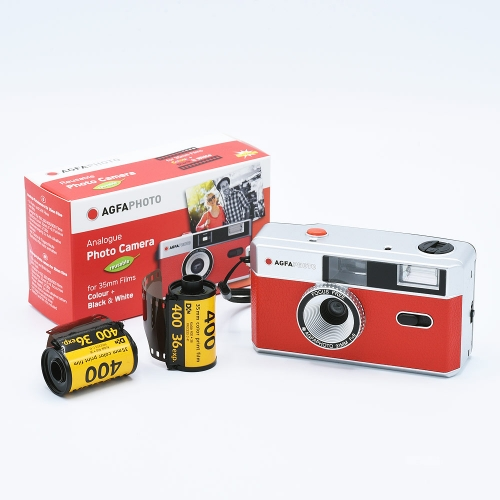 AgfaPhoto Analogue 35mm Photo Camera (Reusable) - Rood + 2x Kodak UltraMax 135-36