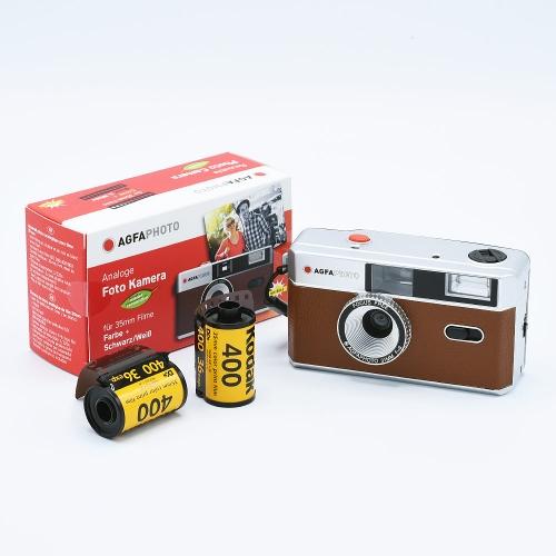 AgfaPhoto Analogue 35mm Photo Camera (Reusable) - Brown + 2x Kodak UltraMax 135-36