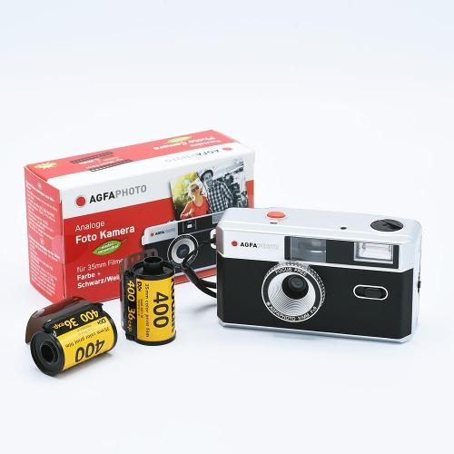 AgfaPhoto Analogue 35mm Photo Camera (Reusable) - Black + 2x Kodak UltraMax 135-36